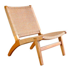 Woven Lounge Chair, Colorado Orange, Teak