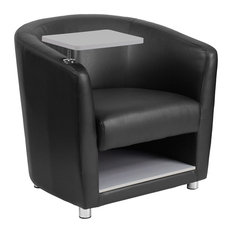 Offex Black Leather Guest Chair With Tablet Arm Under Seat Storage Light Gray