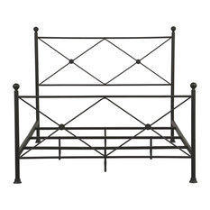 """Right 2 Home All-in-One Black """"X"""" Metal Queen Bed"""