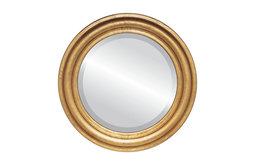 "Philadelphia Framed Round Mirror in Gold Leaf, 27""x27"""