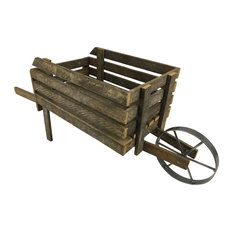 Furniture Barn USA® Decorative Wheelbarrow from Reclaimed Tobacco Lath Board