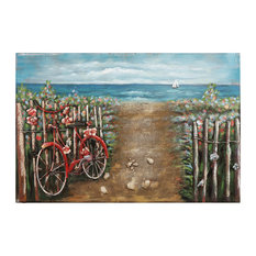 """Red Bicycle"" Mixed Media Iron Hand Painted Dimensional Wall Art"