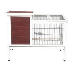ALEKO Fir Wood Chicken Coop/Rabbit Hutch, Red and White
