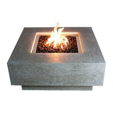 Elementi - Cast Concrete Manhattan Table Fire Feature, Natural Gas - Fire Pits