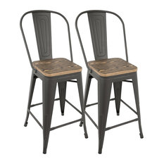 Oregon High Back Stools Set Of 2 Gray/Brown Counter Height