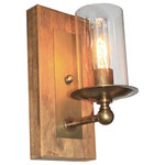 Artcraft Lighting - Legno Rustico 1-Light Burnished Brass Wall Bracket - The Legno Rustico, which means rustic wood in Italian, is made of 100% pine and comes in two finishes of wood and plating. Dark Pine with Brunito plating or light pine with Burnished brass plating. This is hand made in North America with pride.