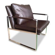 Harvey Modern Full Grain Italian Leather Accent Chair Chocolate Brown