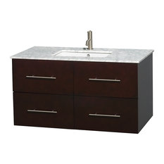 "Centra 42"" Espresso Bathroom Vanity, Carrera Marble Top, No Mirror"