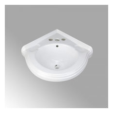 "Portsmouth 22"" Corner Wall Mounted Bathroom Sink in White with Overflow"