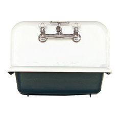 """reLA - Antique Style High Back Farm Sink Cast Iron Porcelain Wall Sink, Navy, 24"""" - Utility Sinks"""