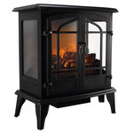 """Della - 25"""" 1400-Watt Electric Fireplace Stove Heater - This attractive stove heater has three sides so you can enjoy the realistic electric flames from every angle. Both useful and beautiful, this engaging design features a heater with high/low control. This super-efficient technology warms you instantly and directly. The flames operate independently for ambiance with or without heat. The stove is designed to heat up huge area, and its compact size makes it easy to move from room to room."""
