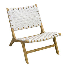 BB Designs - Slent Handwoven Leather Lazy Chair, White - Armchairs & Accent Chairs