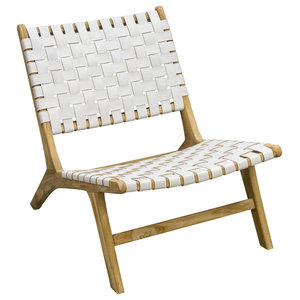 Slent Handwoven Leather Lazy Chair, White
