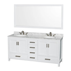 "Wyndham Collection Sheffield 72"" White, White Carrera Marble, Oval Sink"