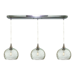 Lunar 3-Light Linear Pendant Form No. 767, Clear Glass Shades