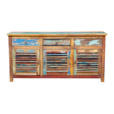 Chest / Media Center 3 Doors And 3 Drawers Made From Recycled Teak Wood Boats