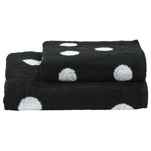 Dots Towel Collection, Black and White, Set of 2