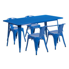 Flash Furniture 5 Piece 31.5-inch X 63-inch Metal Dining Set In Blue