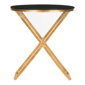 Safavieh Lillian Accent Table, Gold and Black Glass