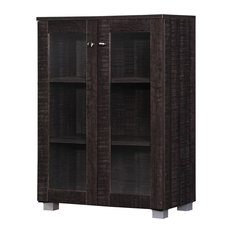 Mason and Dark Brown Multipurpose Storage Cabinet Sideboard With 2 Class Doors