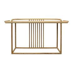 Oriental Zen Unfinished Wood Slim Open Side Table