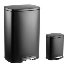 Connor 13-Gallon Trash Can With Soft-Close Lid and Free Mini Trash Can, Black