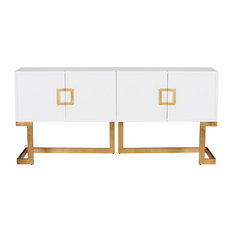 Emmett Hollywood Regency White Lacquer Gold Media Console Cabinet