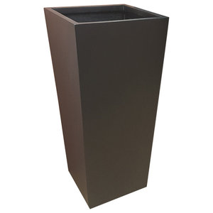 Matt Black Flared Square Fibreglass Planter, 42x42x75 cm