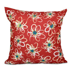 "Penelope Floral, Geometric Print Pillow, Coral, 16""x16"""