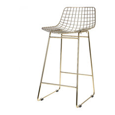 Wire Bar Stool, Brass