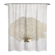 """Oliver Gal """"Gold Coral Fan"""" Shower Curtain, 71""""x74"""""""