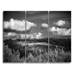 """""""Green Hills Under Cloudy Sky"""" Wall Art, 3 Panels, 36""""x28"""""""