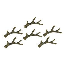 Antique Bronze Finish Cast Iron Deer Antler Drawer Pull Cabinet Handle Set of 6