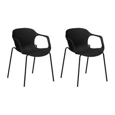 Elbert Curved Plastic Dining Chairs With Metal Legs, Black, Set of 2