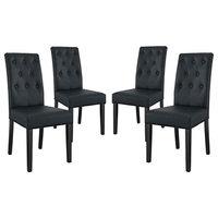 Confer Dining Side Chairs Vinyl, Set of 4, Black