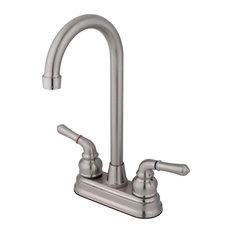 "Kingston Brass Two-Handle 4"" Centerset Bar Faucet, Brushed Nickel"