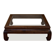 China Furniture And Arts Chinese Ming Style Square Coffee Table With Gl Top Brown