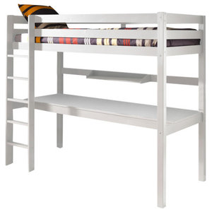 Pino High Sleeper With Large Desk, Taupe