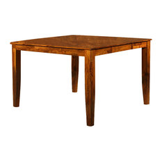Mango Solid Wood Counter Height Table w Leaf in Light Oak
