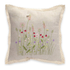 "16"" Wildflower Burlap Pillow"