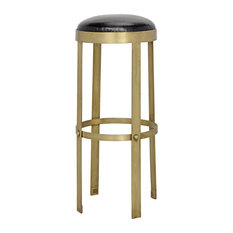 Noir Prince Stool with Leather, Brass Finish