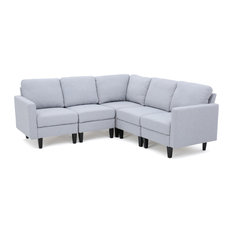 GDFStudio - Carolina Fabric Sectional Couch Light Gray - Sectional Sofas  sc 1 st  Houzz : light gray sectional - Sectionals, Sofas & Couches