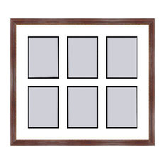 Mahogany Collage Picture Frame with 6 rectangle openings for 6X8 photos