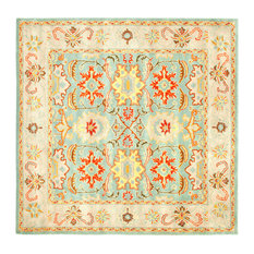 Safavieh   Heritage Wool Hand Tufted Light Blue And Ivory Rug, Hg734A Square ,