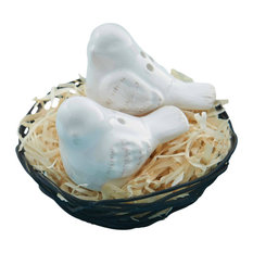 White Birds Sitting in Wire Nest Salt and Pepper Shakers Set Milk Terracotta