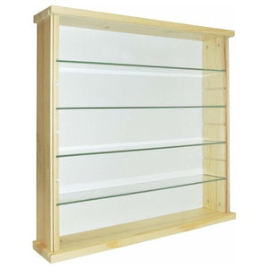 Modern Wall Display Cabinet, Natural Solid Pine Wood With 4 Glass Shelves