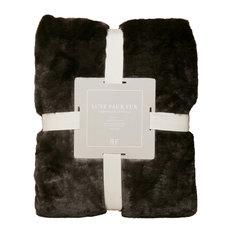 Luxe Pom Pom Faux Fur Throw Blanket, Chocolate