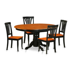 5-Piece Dining Room Set-Oval Table With Leaf And 4 Dining Chairs