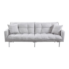 Divano Roma Furniture Modern Plush Tufted Linen Fabric Splitback Sleeper Futon Light Gray
