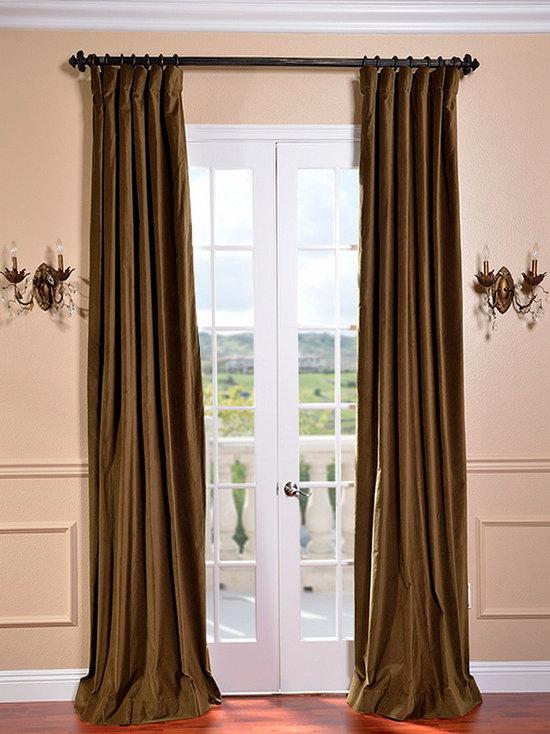 burnt olive vintage cotton velvet curtain curtains - Velvet Curtain